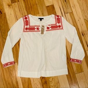 NWT J. Crew White Embroidered Peasant Blouse SP